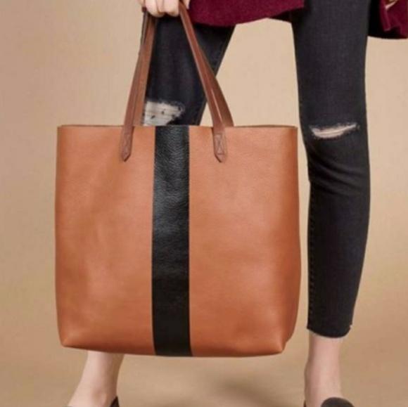 a8023e7e76080 Madewell Paint Stripe Transport Leather Tote Bag